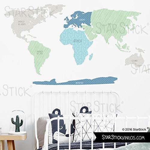 StarStick - Mapamundi combinación mint - Vinilos decorativos de pared - T3...