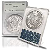 1885 O Morgan Silver Dollar in Vintage Holder (Rattler) MS-63 PCGS