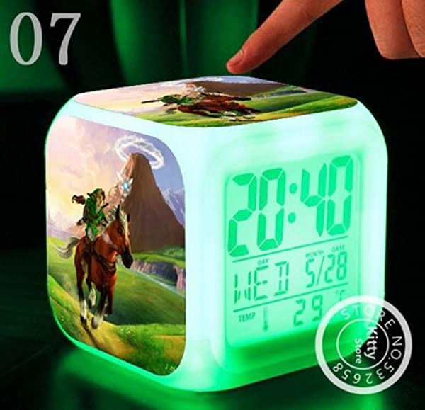AThiToZone Arrive Within 3 5 Weeks The Legend Of Zelda Action Figure Cartoon 7 Colors Change Digital Alarm LED Clock Cartoon Night Colorful Toys For Kids Style 7