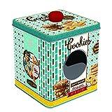 EASY LIFE Scatola di Latta per Dolci Biscotti con Finestra Cookies 13x13x14,5 cm
