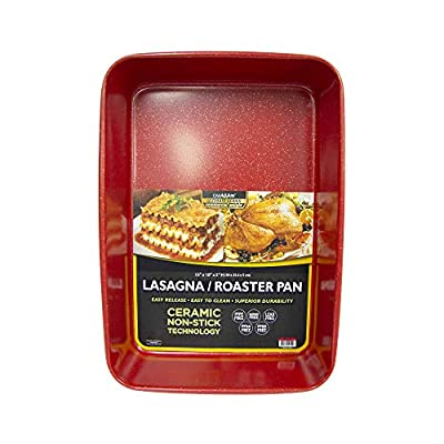 casaWare 15 x 10 x 3-Inch Ultimate Series Commercial Weight Ceramic Coated Non-Stick Lasagna/Roasting Pan (Red Granite)