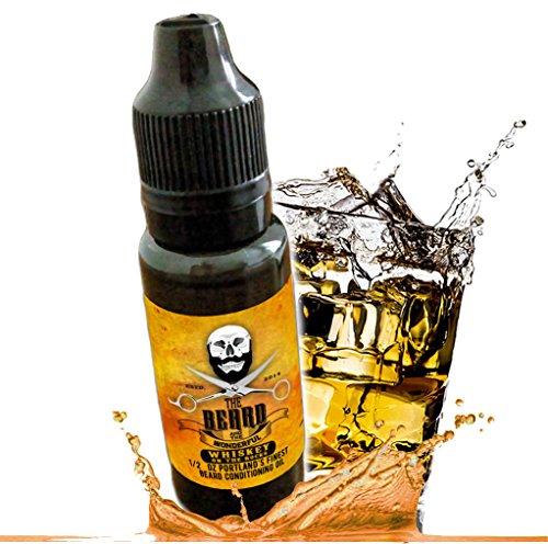 Barbe Huile Whisky on the rocks Naturel mélangé. Après-shampoing sans rinçage 15 ml – pour une Barbe Plus doux, Plus épais, et goût. meilleure qualité. Bio 100% naturel (15ml)