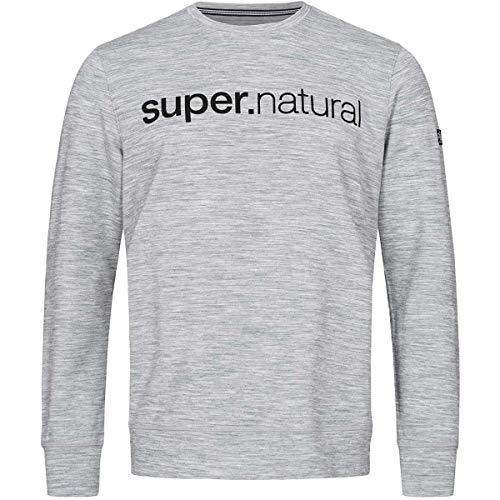super.natural Bequemer Herren Pullover, Mit Merinowolle, M SIGNATURE CREW, Größe: M, Farbe: Grau meliert/Schwarz