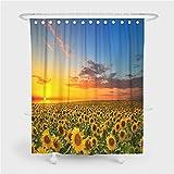 Chickwin Duschvorhang Wasserdicht Sonnenblume Drucken, 100prozent Polyester 3D Stielvoller Digitaldruck mit 12 Duschvorhangringe für Badezimmer (165x180cm,Sonnenblume)