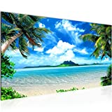 Wandbilder Strand Palmen 1 Teilig Modern Vlies Leinwand