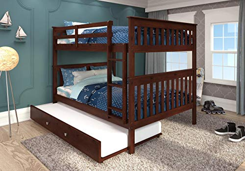 DONCO KIDS Mission Bunk Bed Dark Cappuccino/Full/Full/W/Twin...