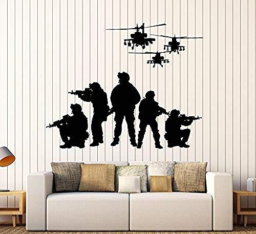 Vinyl Wall Decal Soldaten, Hubschrauber patriotische Kunst militärische Aufkleber große Dekor Kunst Dekoration, kreative Wandsticker, 11 in X 14,2 in