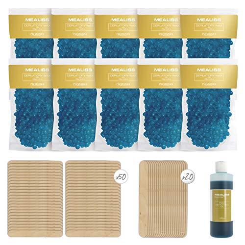 Kit 1 KG Cera Depilatoria Profesional Caliente + 1 Aceite Post Depilación 100ml + 20 Espátulas de Madera - Cera de Perlas para depilar cuerpo y cara - Hipoalergénica para Piel Sensible - Mealiss