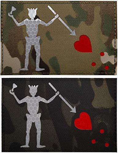 Glow Dark Edward Teach Blackbeard Piratenflagge Patch – Taktische Militär-Abzeichen dekorative Applikationen – Klettverschluss auf der Rückseite (e)