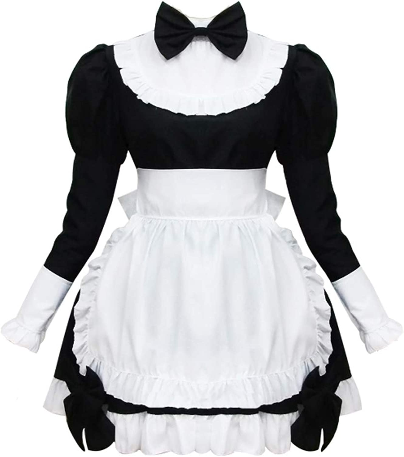 Cos store Womens Black Classic French Maid Lolita Dress Halloween Party Cosplay Costumes