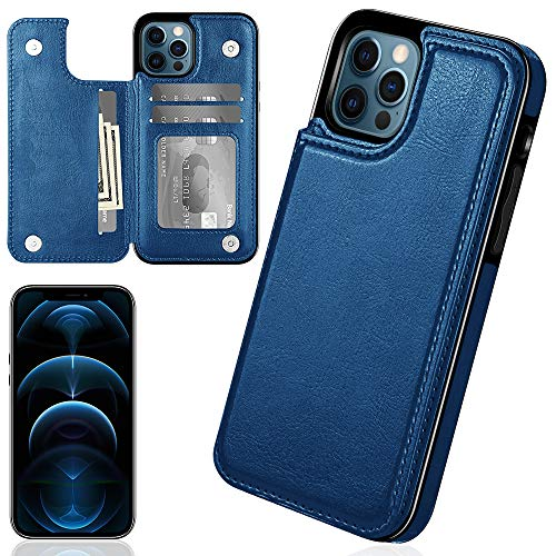 iMangoo Folio Cover for iPhone 12 Pro Wallet Case Compatible with iPhone 12 Case 2020 6.1'' PU Leather ID Credit Card Slot Cash Pocket Card Holder Magnetic Closure Flip Cases Blue