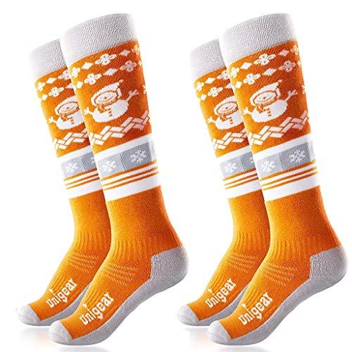 Unigear Chaussettes de Ski pour Enfant en Laine, Longues et Thermiques Chausettes pour Filles et Garçons Idéal pour Ski Snowboard et d'Autres Sports d'hiver (Orange+Orange, S)