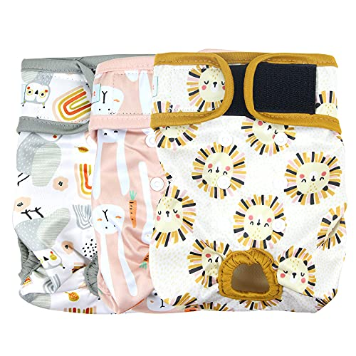 Langsprit Washable Female Dog Diapers (3 Pack) - No Leak Reusable Diapers for Doggy Female in Period - Highly Absorbent Dog Heat Panties with Adjustable Snaps (Rabbit, Owl,Lion, Small)