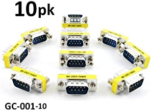 CablesOnline 10-PACK DB9 Serial Male/Male Slim Type Gender Changer (GC-001)