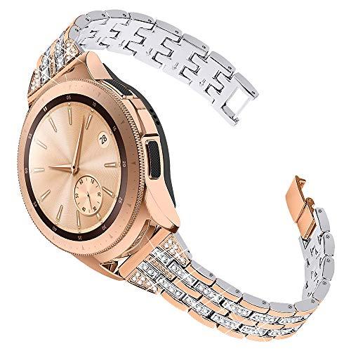 Joyozy Women Girls Stylish Band for Samsung Galaxy Watch (42mm)/Galaxy Watch3(41mm)/Active/2(40mm)/(44mm)/Ticwatch 2, Stainless Steel 20mm Jewelry Watch Strap Band Wrist Band Rhinestones Bracelet-Original Design(Rose Gold+Silver)