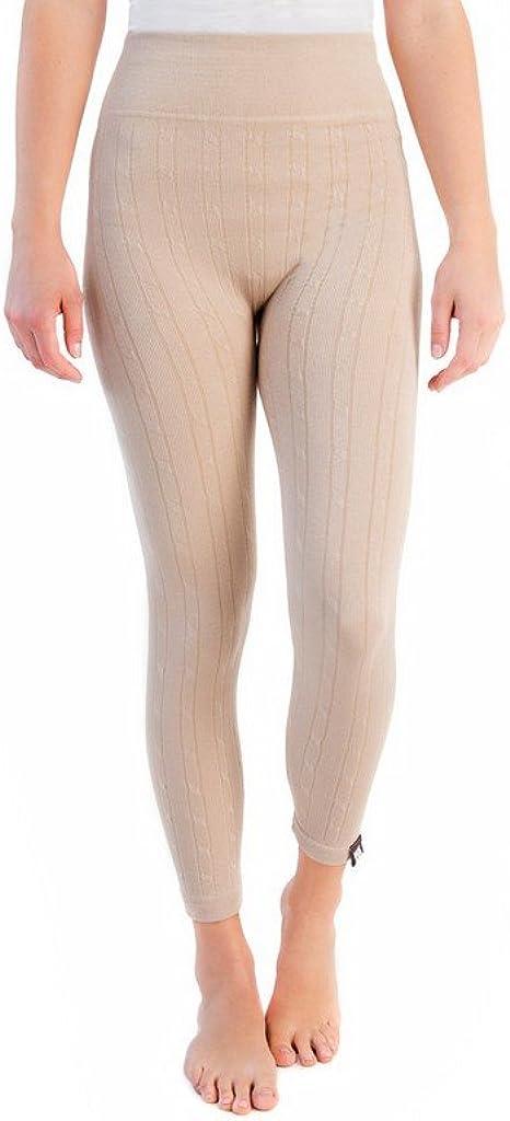 MUK LUKS Women's Cable Knit Fleece Lined Leggins