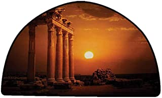 Bathroom Floor mats Ancient,Antique Ancient Style Rome Empire Monuments Columns Statues with Sun Picture,Orange and White,W24 x L16 Half Round Durable Rubber Floor Mat