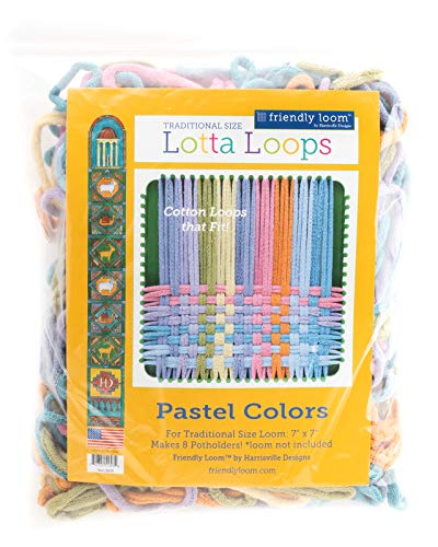 Harrisville Designs Lotta Loops 7 Standard Size Pastel Cotton Loops Makes 8 Potholders, Weaving, Crafts For Kids and Adults-Assorted Colors