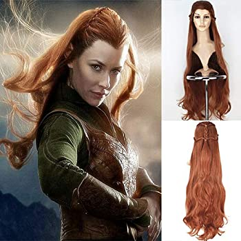 Blue Bird Movie The Hobbit The Lord of the Rings Elf Tauriel Cosplay Wig Golden Brown Hair Long Wavy Braids Costume Wigs for Women Halloween Party Show