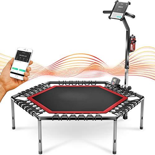 Trampolín Smart Fitness, Incl. cinturón de Ritmo cardíaco, vídeo de Entrenamiento, Contador de Saltos y App, Plegable, Manillar Ajustable, portabotellas y Soporte para móvil - HTX100
