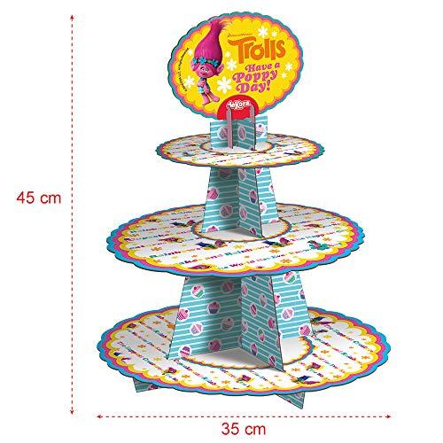 Trolls 338002 PRÉSENTOIR À Cupcakes, Carton, Multicolore, 36 x 2 x 41 cm