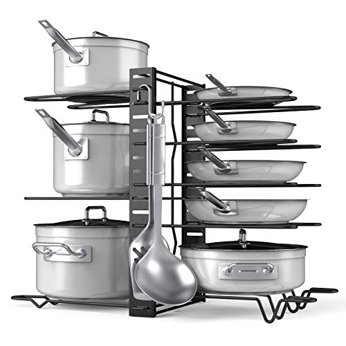 Pots and Pans Organizer Adjustable 8+ Pots and Pans Oragnizer, Kitchen Counter and Cabinet Pot Lid Holder with 3 DIY Methods (6 Hooks Included)