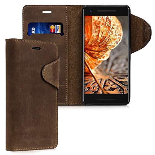 kalibri Wallet Hülle kompatibel mit Google Pixel 2 - Hülle Leder - Handy Cover Handyhülle in Braun