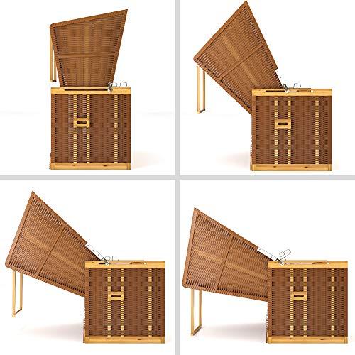 SANZARO Strandkorb XL 120 cm Deluxe Zweisitzer | Holz und Poly-Rattan | Sylt Ostsee Volllieger | inkl. 4 Kissen klappbare Rückenlehne | Rot-Beige-Grün Karo - 6