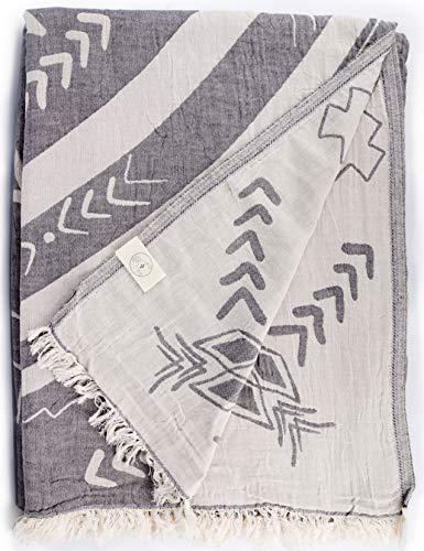 Bersuse 100% Algodón - Kona XXL Manta Toalla Turca - Multiusos Colcha de Cama, Funda de Sofa - Fouta para Baño y Playa, Doble Capa, Mandala Design - Oeko-Tex - 190 x 230 cm, Antracita