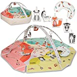 LIONELO Jenny 2 en 1 alfombra bebe manta educativa forma hexagonal cojín para la posición boca abajo 2 arcos juguetes que hacen sonidos estampado con motivo de animales