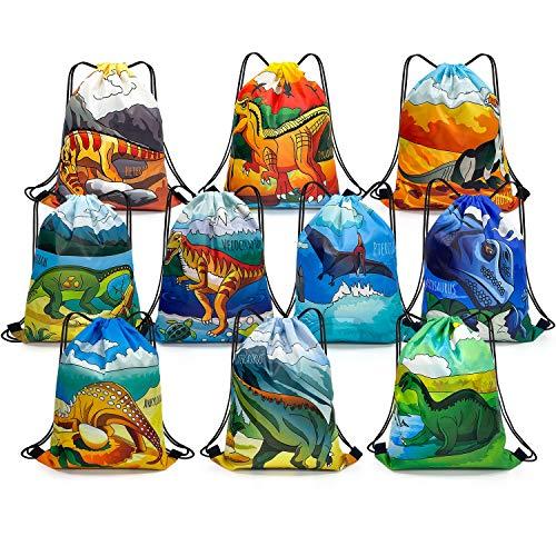 Dinosaurier Partytaschen für Kinder 10 Stück, PTN Dinosaurier Party Partybevorzugungstaschen, Dino Partyzubehör mit Jura Thema, Goody Bag mit Kordelzug, Werbegeschenke für Geburtstagsfeiern