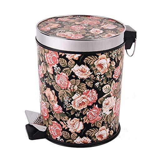 HYZXK Cubo de Basura - Cubo de Pedales - Anillo de presión de Cuero + Acero Inoxidable - Cubo de Almacenamiento para Separador - Flor de algodón 12 l