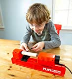 HearthSong Playmake Creative Kids' 4-in-1 Woodshop Carpentry Tool with Jigsaw, Lathe, Drill Press, Sander, Power Supply, Safety Goggles, Extra Supplies, and Deluxe Project Book
