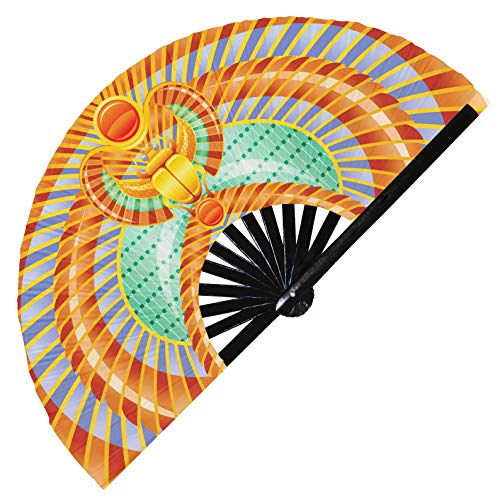 Hypnotiq Abanico egipcio de mano con brillo UV para disfraz de esclavo egipcio, disfraz de faran, ventilador de mano Cleopatra (estilo 3)