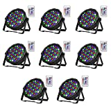 SHEHDS Wireless Remote LED Flat Par 54x3W Lighting RGBW DMX 512 Stage Lighting with Remote Control for Home Party Wedding DJ Show Club Concert Dance Floor Lighting - 8 Pack
