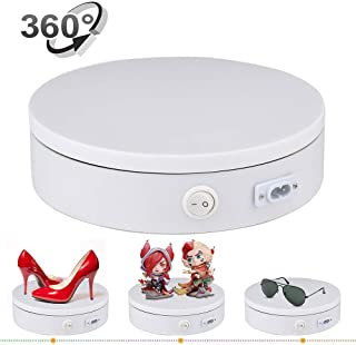 Motorized Photography Turntable,Newerpoint Automatic Revolving Platform Perfect for 360 Degree Images,Professional for Shop Display Stand,Product Display or Cake Display,55lb Load Dia 7.8inch- White