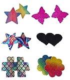 QueenT Pegatinas Para el Pecho Desechables Cubierta de Pezón Autoadhesivas Con Color Vibrante (6 pares)