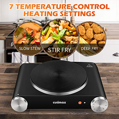 CUSIMAX Portable Hot Plate Burner for Electric Cooking, 1500w Single Countertop Burner with Knob Control to Adjustable Temperature and Anti-Skid Feet Electric Stove for Dorm Office Home RVs, Compatible for All Cookwares
