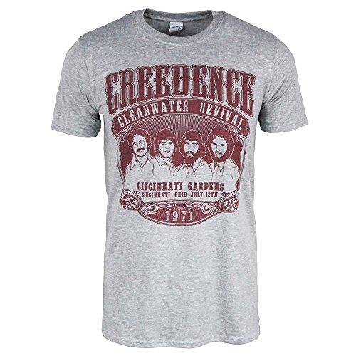 Pour des hommes Creedence Clearwater Revival 1971 T-shirt Bruyère gris Petit – Poitrine 34-36 Pouces (86.5 - 91.5cm) Bruyère gris