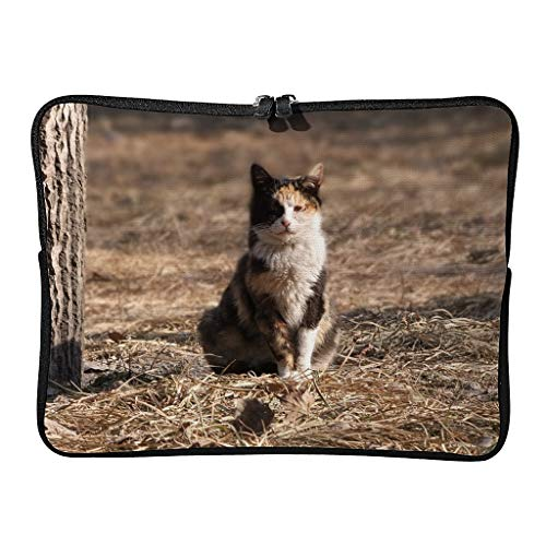 Regular Street Cat Laptop Bags Waterproof Slim Tablet Cases Suitable for Business Trip White 15 Zoll