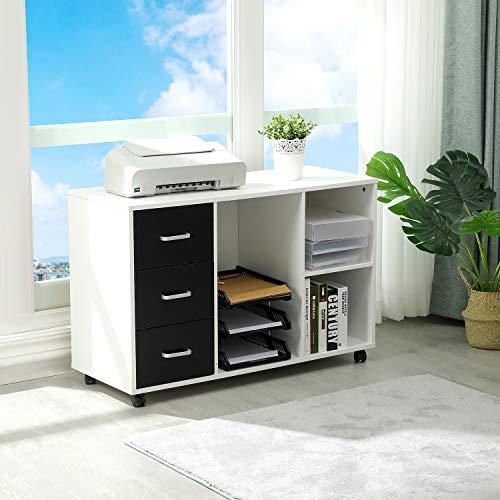 Itaar Aktenschränke mobiler Büroschrank, Modern Standschrank Druckerschrank Holz Rollcontainer mit 3 Schubladen, Mehrzweckschrank Sideboard, weiß 100x39.5x65.5cm