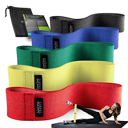 ZenOne Sports ZenLoops Stoff Fitnessbänder aus Stoff, Resistance Bands in versch. Stärken, Widerstandsbänder für Bein- & Po Training, inkl. Workout-Guide
