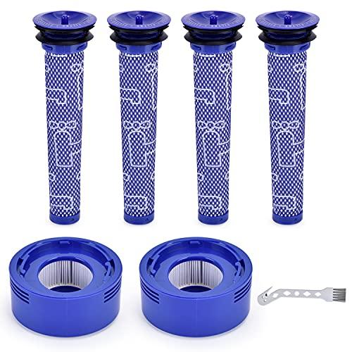 Aryavos V8 Filter für Dyson V8 V7 Staubsauger, Ersatzteile Filter Zubehör Set mit Reinigungsbürste, 2 HEPA-Nachmotorfilter-Kit&4 Vorfilter V8 V7 Ersatzfilterkit für Dyson # DY-96566101, DY-96747801