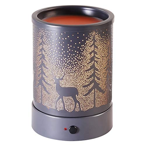 Wax-Melter Wax-Melt Candle-Warmer for Scented Wax - Electric Oil Tart Burner Heater Fragrance with Timer for Home Decor (Gray Christmas Tree)
