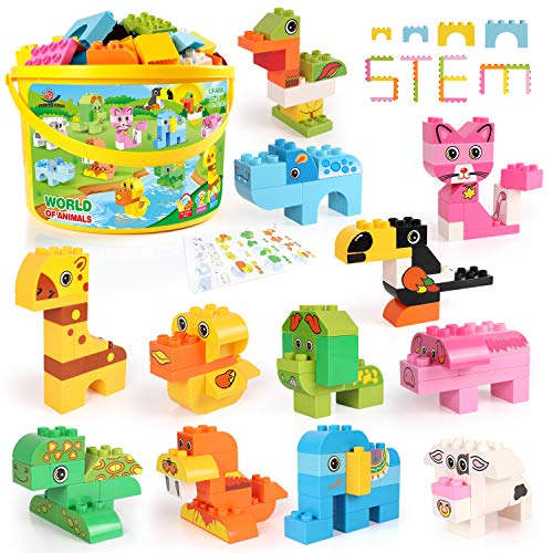 Building Blocks Set for Toddlers  Creative Large Building Bricks  Toy Animals Building Kit with Storage Box  Preschool Learning Educational Toys for Kids Boys Girls Gifts for 3+ Years Old (122 Pieces)
