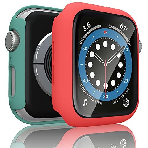 Wanme 2 Pack Funda Compatible con Apple Watch 44mm Serie 6/SE/5/4, PC Case y Vidrio Protector de Pantalla Integrados, Protección Completo Anti-Rasguños (44mm Rojo+Verde Musgo)