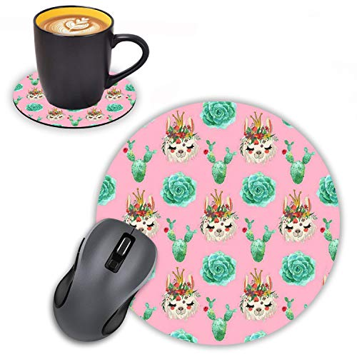 Log Zog Round Mouse Pad with Coasters Set, Cute Animal Alpaca with Cactus Design Mouse Pad Non-Slip Rubber Mousepad Office Accessories Desk Decor Mouse Pads for Computers Laptop