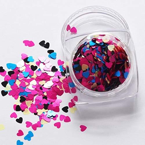 1Box Red Nail Glitter Flakes Love Heart Shape Slider Shining Sequin Love Heart Shape Loose Sequins 3D Nail Decor