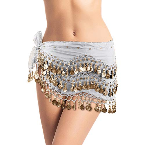 Pearl Hip Shakers Belly Dancing Skirt Coin Sash/Scarf Costume with Gold Coins (White)