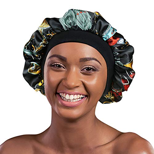 Alnorm Stylish Sleep Cap Silky Double-Layered Satin Bonnet Premium Wide Band Nightcap for Hair...